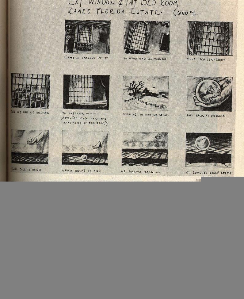 Az aranypolgár (Orson Welles, 1941) storyboard-jának első