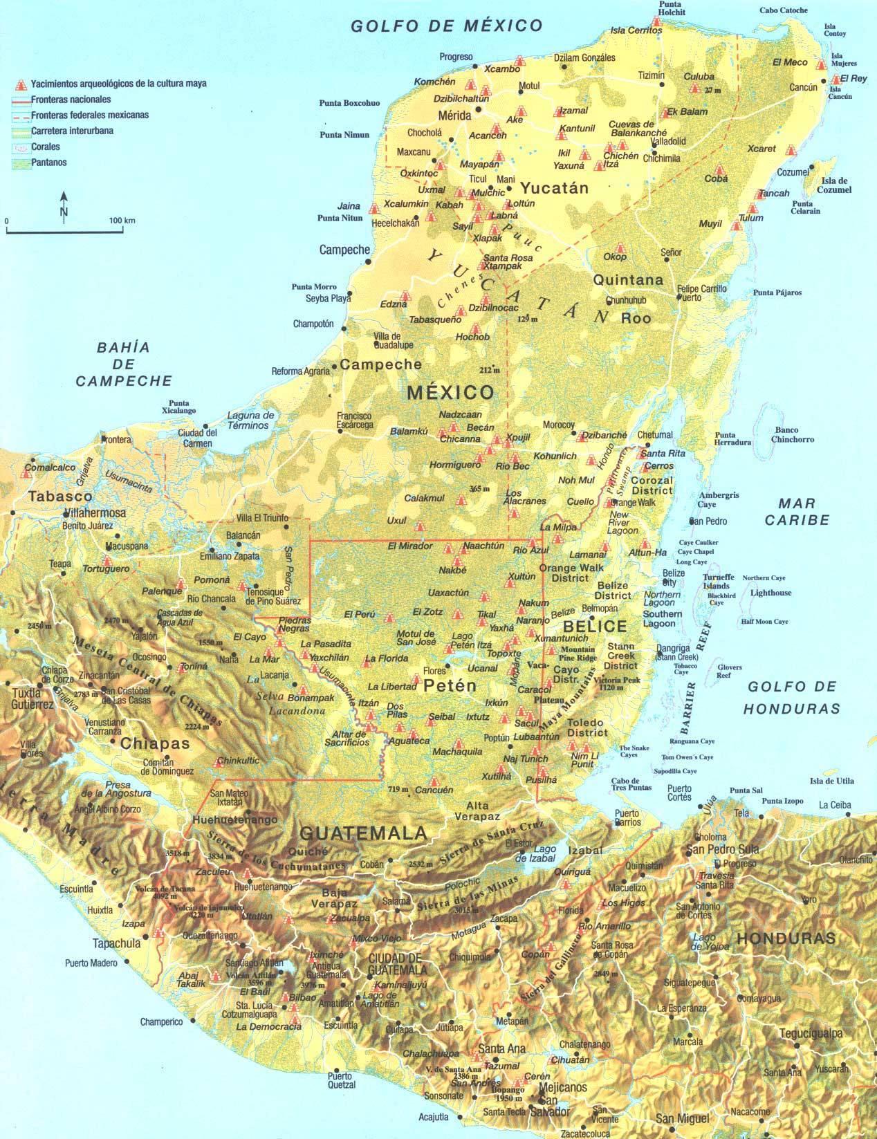 A maja civilizáció térképe