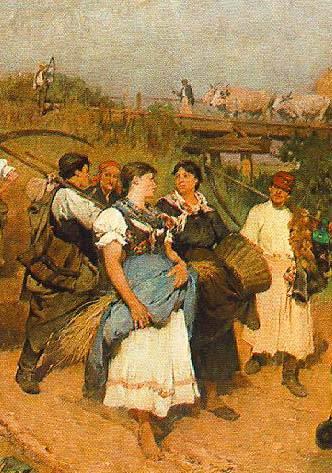 Deák-Ébner Lajos: Hazatérő aratók. 1881, olaj, vászon, 94,5 x 131 cm, Magyar Nemzeti Galéria, Budapest