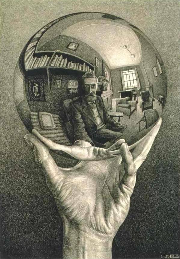 Escher: Kéz tükröződő golyóval (1935)