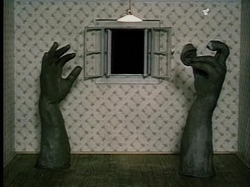 Részlet a <em>Sötétség, világosság, sötétség</em> (Tma, světlo, tma. Jan Švankmajer, 1989)című rövidfilmből