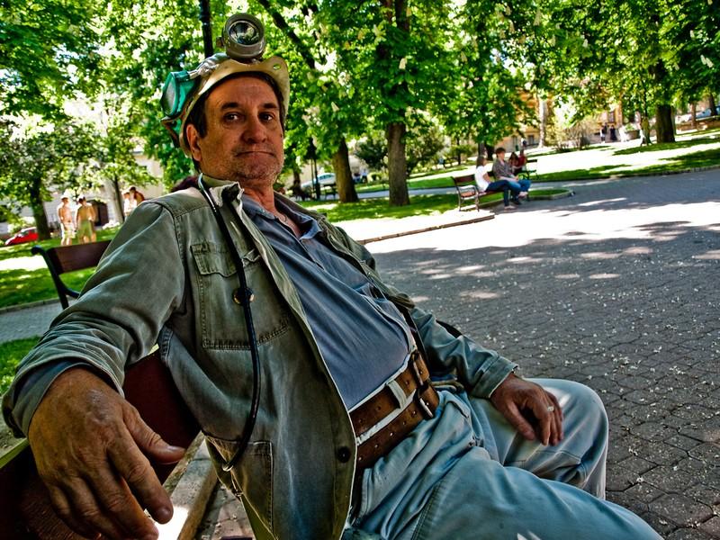 Nyugalmazott bányász a városnéző túrán forrás: (http://www.ilovepecs.hu)