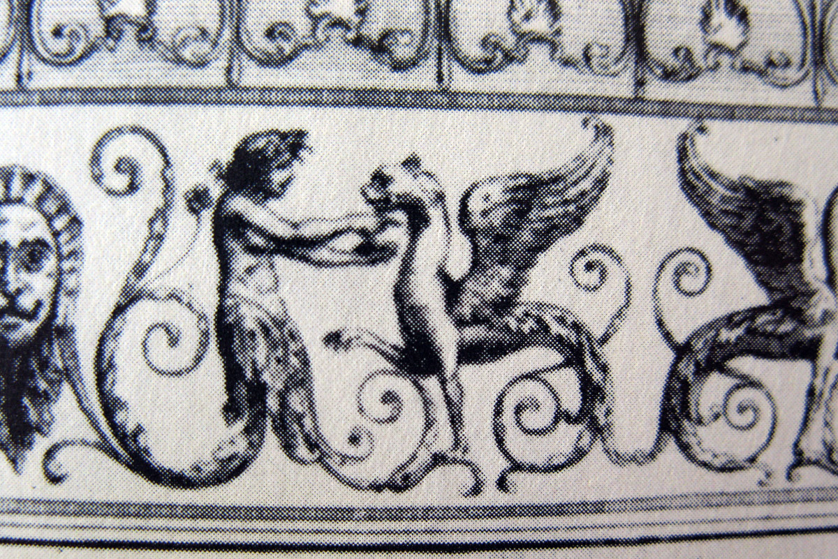 Nicolas Ponce, engraving from Domus Aurea designs, in Descriptions des bains de Titus, 1786, detail.