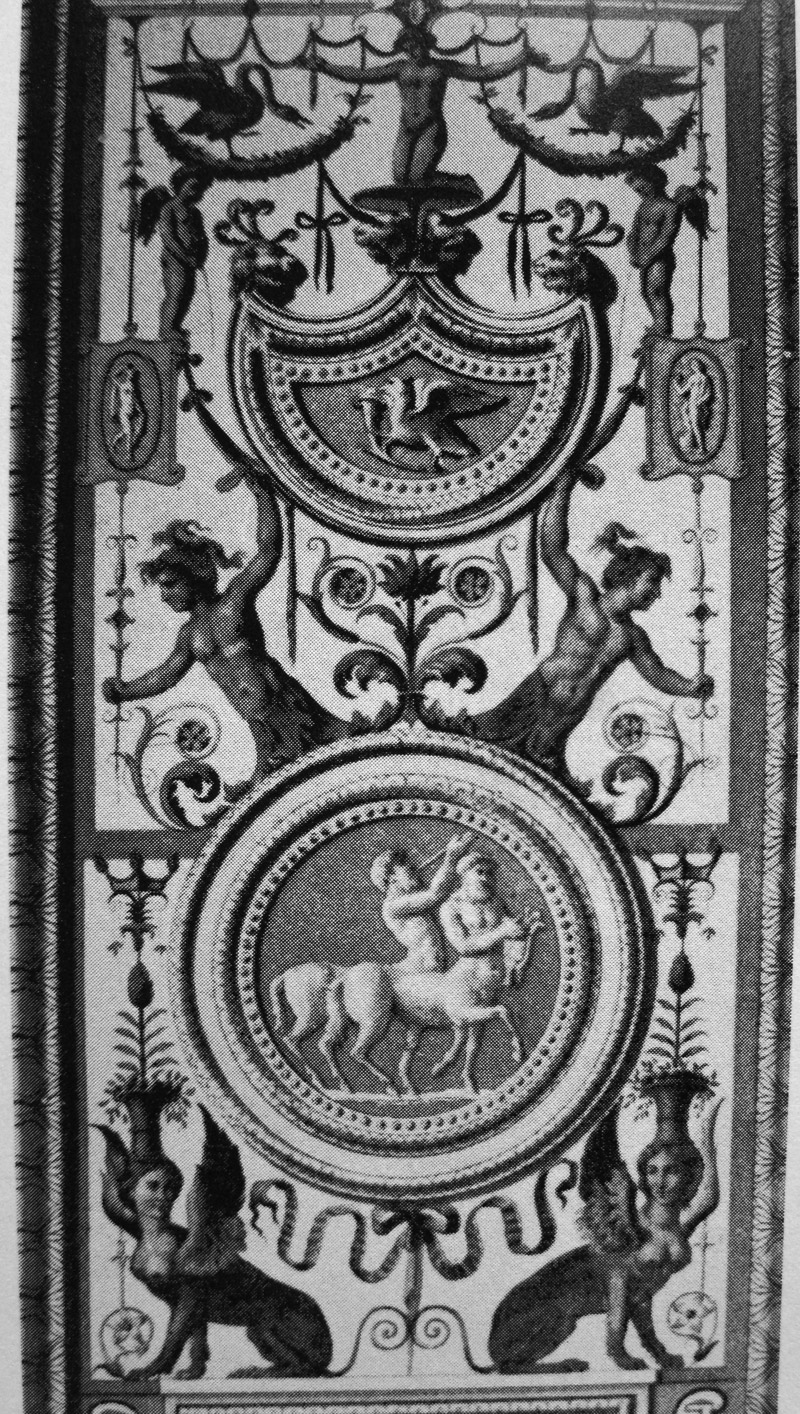 Marcello Ferraro, engraving of pilaster in Vatican Loggia, in Les ornaments de Raphaël, 1860, detail.