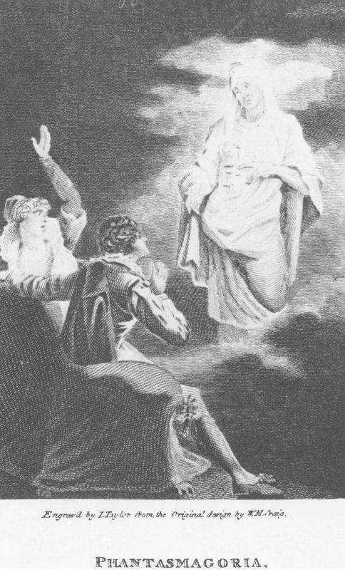 A Phantasmagoria címoldán megjelent rézmetszet W. M. Craig tervei alapján: The Development of Magical Deception (1803)