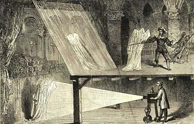 """""""Pepper szelleme"""". A londoni Királyi Műszaki Intézetben bemutatott vetítés az 1860-as évekből."""