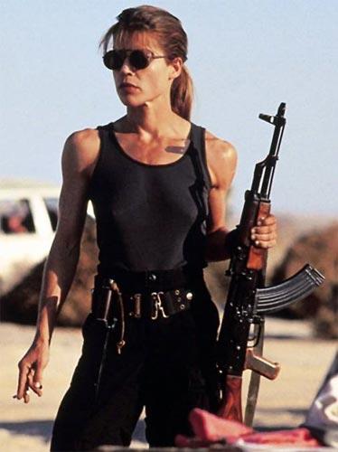 Linda Hamilton Sarah Connor szerepében (Terminátor, 1984)