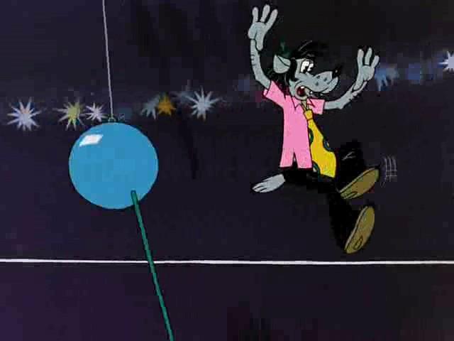 Képkocka a No, megállj csak! tizenegyedik részéből. Bár a cirkusz gömbje eltalálta a Farkast, teste megőrzi eredeti formáját.