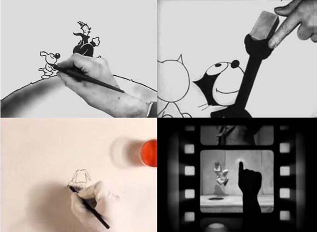 Balról jobbra és fentről lefelé: az animátor keze a Ko-Ko's Earth Control (1928), a Comicalamities (1928), a Manipulation (1991) és a Tim Tom (2002) című filmekben.