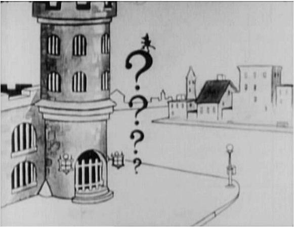 Félix kérdőjelekre mászik fel a Felix Saves the Day (1922) című filmben.