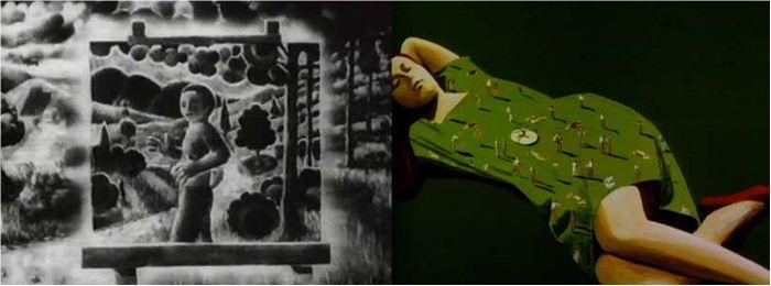 Metalepszisszerű átalakulások 6a: a Mindscape/Le paysagiste (1976) és 6b: a 78 Tours(1985) című filmekben.