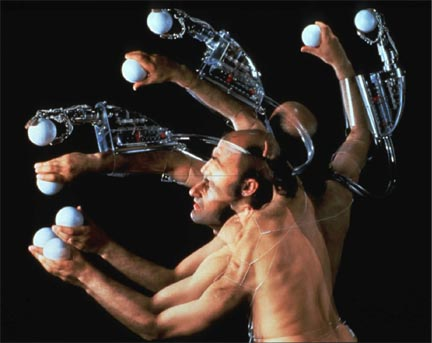 Stelarc: Third Hand Project, 1976-1994. Industrial Robot Arms 1991-1994, Virtual Arm Project 1993-1994.