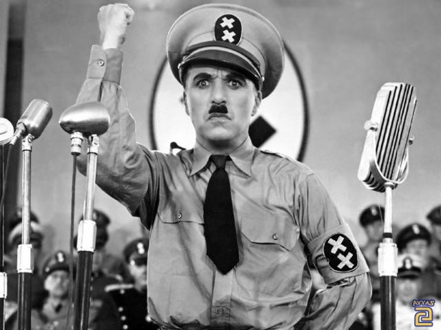 Chaplin as Adenoid Hinkel in The Great Dictator