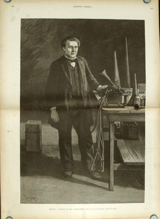 Thomas A. Edison a laboratóriumában (Harper's Weekly, 1891. június 13.)