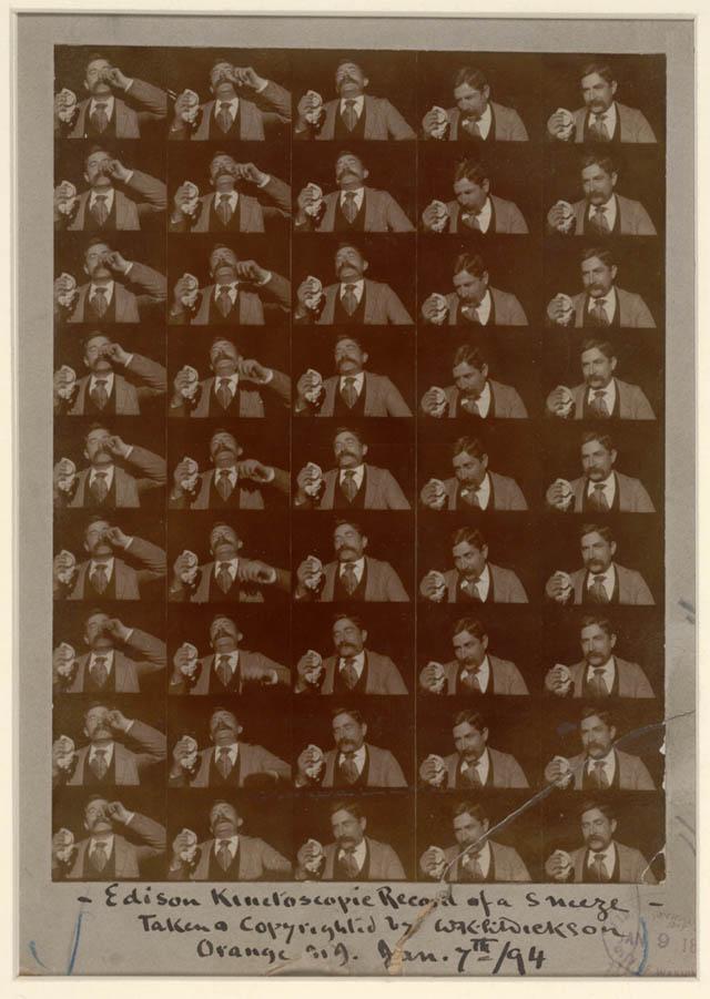 Edison: Fred Ott tüsszentése (1894) (W.K.-L. Dickson zselatin másolat)