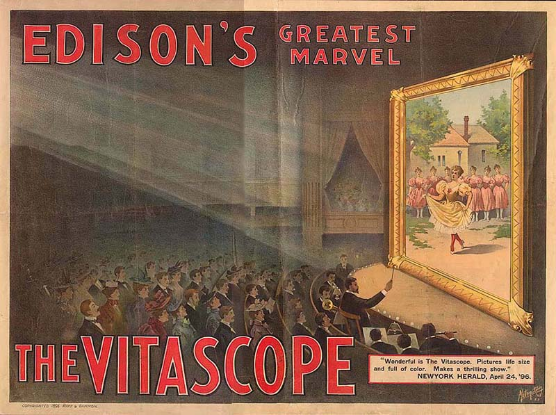 A vitaszkópot reklámozó plakát 1896-ból