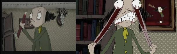 A holttest fütyörészéssel kísért feldarabolása; Túlzóan expresszív gesztusok (Der Verrückte, das Herz und das Auge. Anette Jung, 2005)