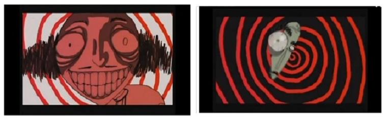 Rájátszás Hitchcock Szédülésének animált bevezetőjére ( Der Verrückte, das Herz und das Auge. Anette Jung, 2005)