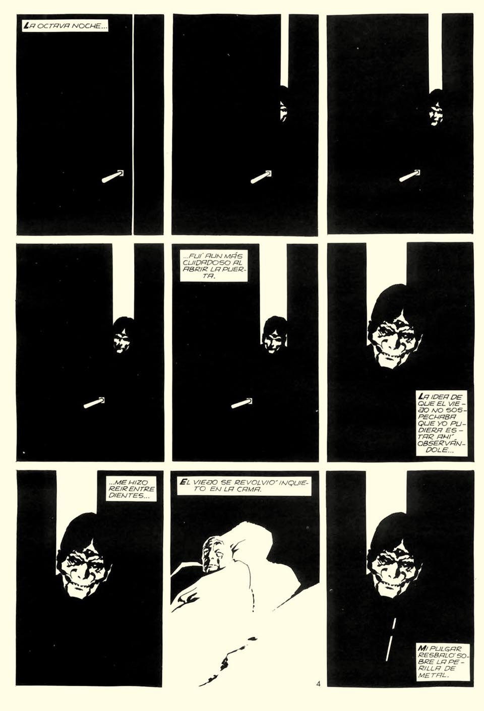 A halálfejre emlékeztető arc fokozatosan tűnik fel az ajtó résében ( El corazón delator. Alberto Breccia, 1975)