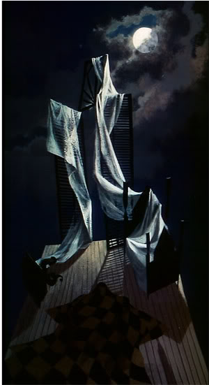 Chirico-festményeket idéző enteriőr ( The Tell-Tale Heart. Ted Parmelee, 1953)