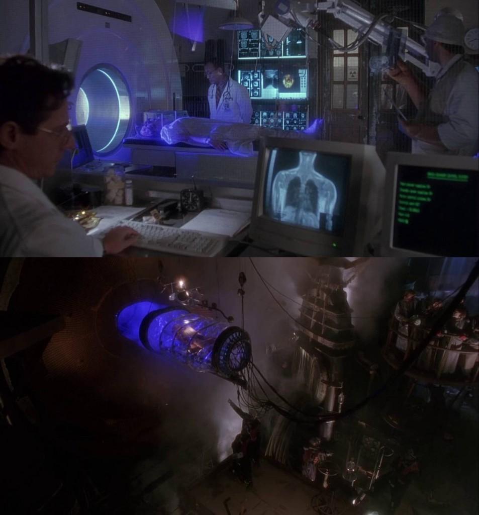 1. kép - A tomográfiás gép (felül) és az időgép (alul) vizuális hasonlósága - <em>12 majom</em> (12 Monkeys. Terry Gilliam, 1995)