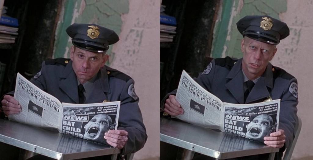 5. kép - Az elmegyógyintézet biztonsági őrét a benyugtatózott Cole a jövő börtönőreként látja  - <em>12 majom</em> (12 Monkeys. Terry Gilliam, 1995)