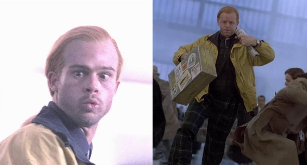 6. kép - Cole visszatérő álmában Jeffrey Goines (bal kép) alakjával helyettesítődik Dr. Peters (jobb kép), a vírus valódi terjesztője - <em>12 majom</em> (Terry Gilliam, 1995)