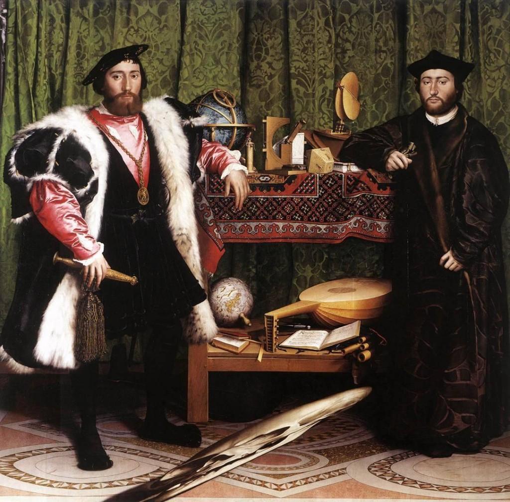 11. kép - Hans Holbein <em>Követek</em> (1533) című képén az előtér torzított foltja egy koponya képét rejti