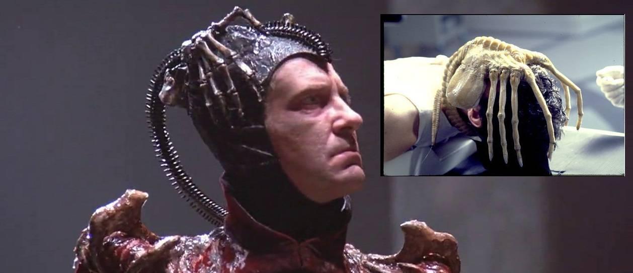 """16. kép - Az Időbanditák Gonoszának fejdísze (nagykép) kísérteties hasonlósága A nyolcadik utas, a halál """"Arctámadó"""" szörnyével (kiskép) - <em>Időbanditák</em> (Time Bandits. Terry Gilliam, 1981)"""