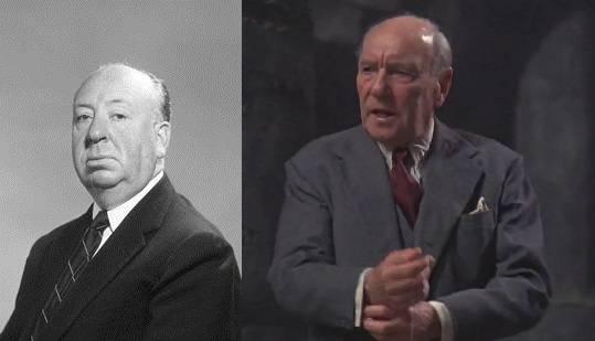 """17. kép - Az Időbanditák """"isteni lénye"""" (jobb kép) Alfred Hitchcock alakjára emlékeztet (bal kép) - <em>Időbanditák</em> (Time Bandits. Terry Gilliam, 1981)"""