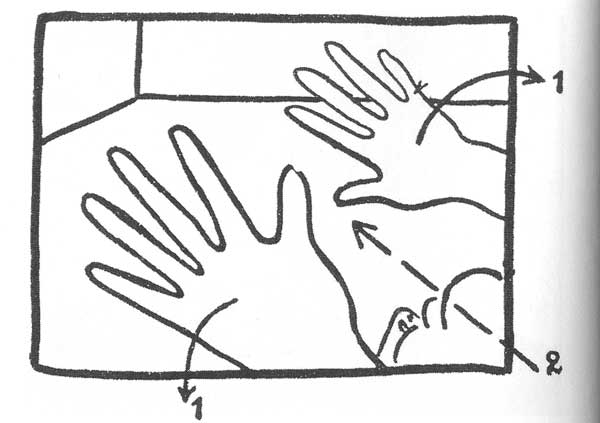 1.32: A zálogosasszony megtámadása a néző irányába történő hirtelen mozgásban ábrázoltatik.