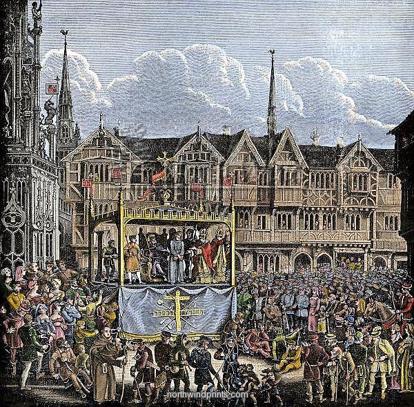 Középkori misztériumjáték 19. századi ábrázolása