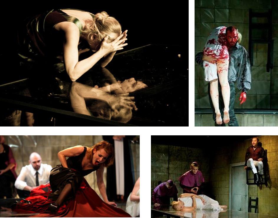 A Kár, hogy kurva néhány jelenete a Magyar Színház 2010-es előadásából, Koltai M. Gábor rendezésében. Forrás: Vereckei Rita díszlettervező honlapja.