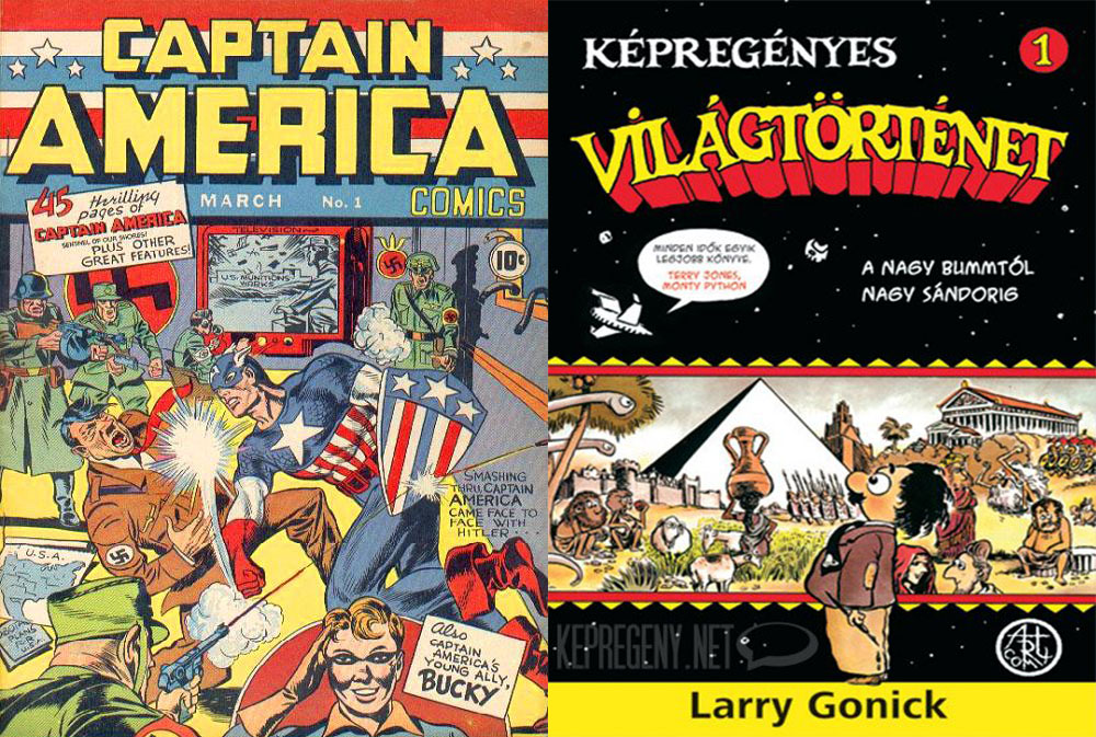 Captain America leüti Hitlert, 1941 márciusa; Larry Gonick: <em>Képregényes világtörténet 1.</em>