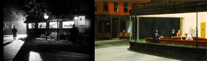 A gyilkosok (The Killers. Robert Siodmak, 1946); Edward Hopper: Éjszakai baglyok (Nighthawks, 1942)