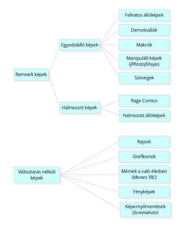 A mémközösségekben megosztott szokványos képfájlok taxonómiája (Milner 2012: 85)