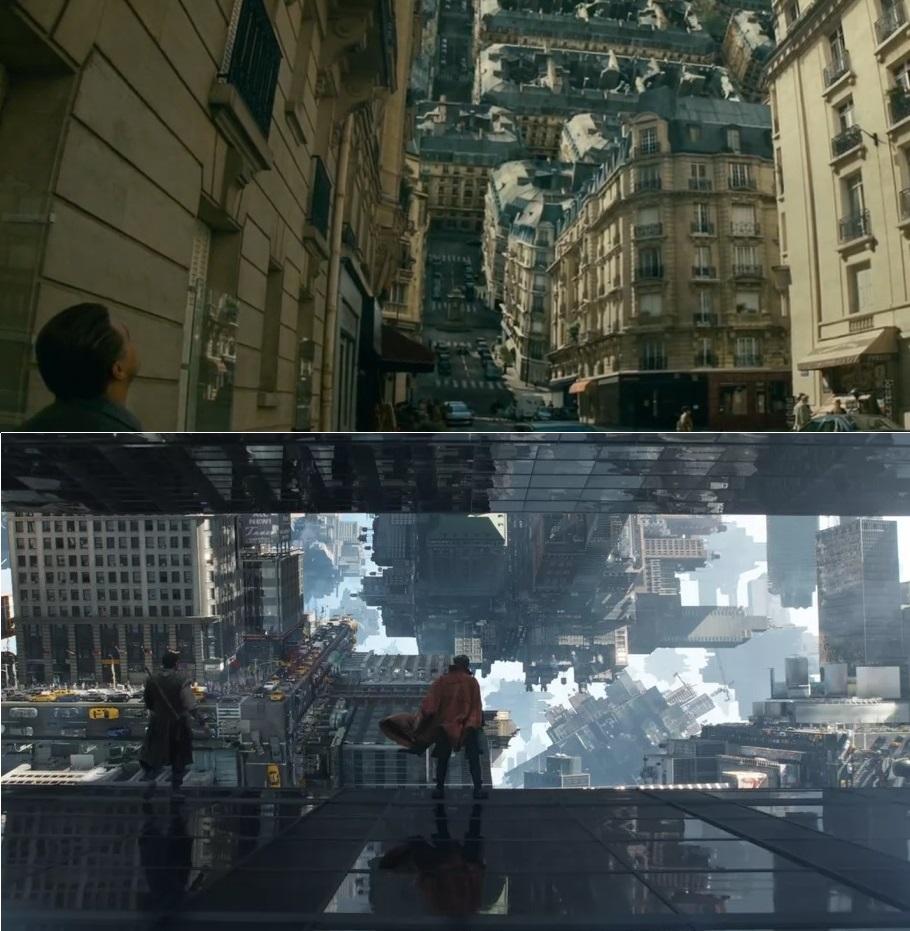 A városi, áttechnologizált tér mint mágikusan vezérelhető gépezet (fent: <em>Eredet</em>, lent: <em>Doctor Strange</em>)