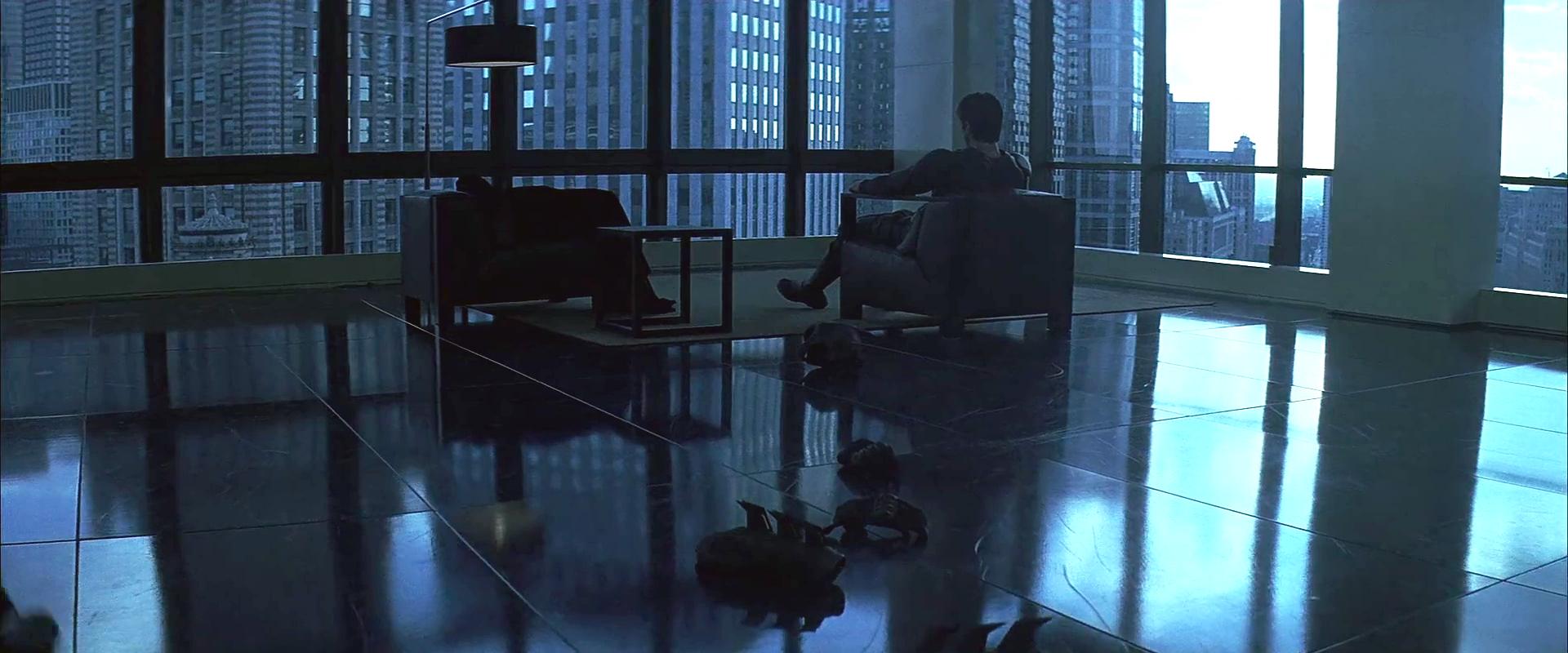 Bruce Wayne ellenőrző tekintete a chicagói Trump Toronyból <em>A sötét lovag</em>ban