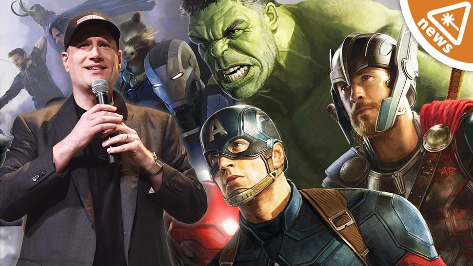 Kevin Feige egy sajtótájékoztatón (kép forrása: https://nerdist.com/article/mcu-update-avengers-4-trailer-kevin-feige-marvel/)
