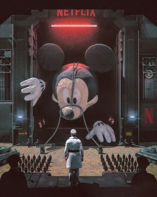 Karikatúra a Netflix és a Disney harcáról (Mike Winkelmann karikatúrája)
