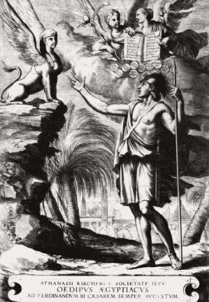 Oidipusz és a Szfinx (Athanasius Kircher: Oedipus Aegyptiacus, 1652-54, borító)