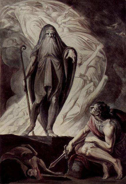 Oidipusz és Teiresziasz (Johann Heinrich Füssli: Theresias erscheint dem Ulysseus während der Opferung, 1780-85, Graphische Sammlung der Albertina, Bécs)