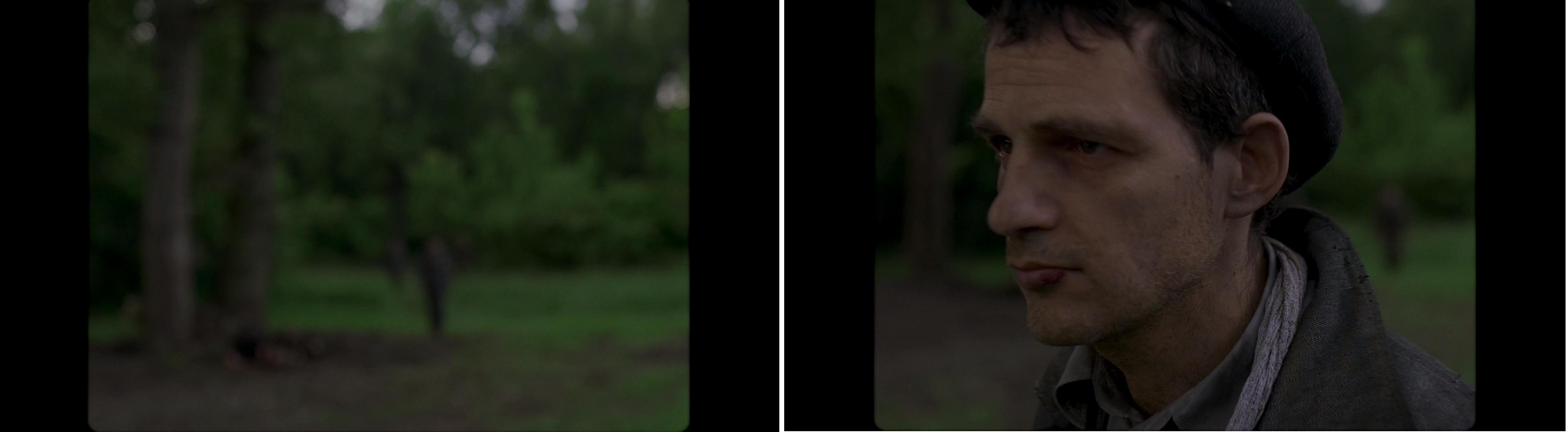 Homályos nyitókép után Saul kerül fókuszba, a szabadon látható háttér továbbra is elmosódott marad.