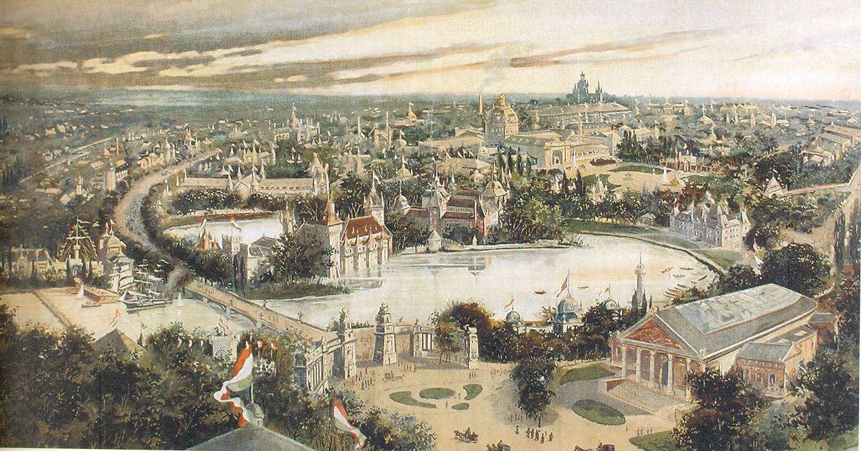 A budapesti Városliget felülnézeti képe az 1896-os millenniumi ünnepségek idején