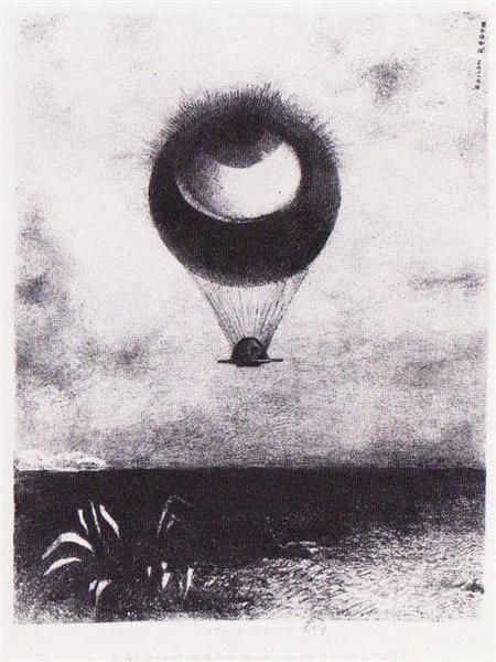 Odilin Redon The Eye Like a Strange Ballon Mounts Toward Infinity. 1882