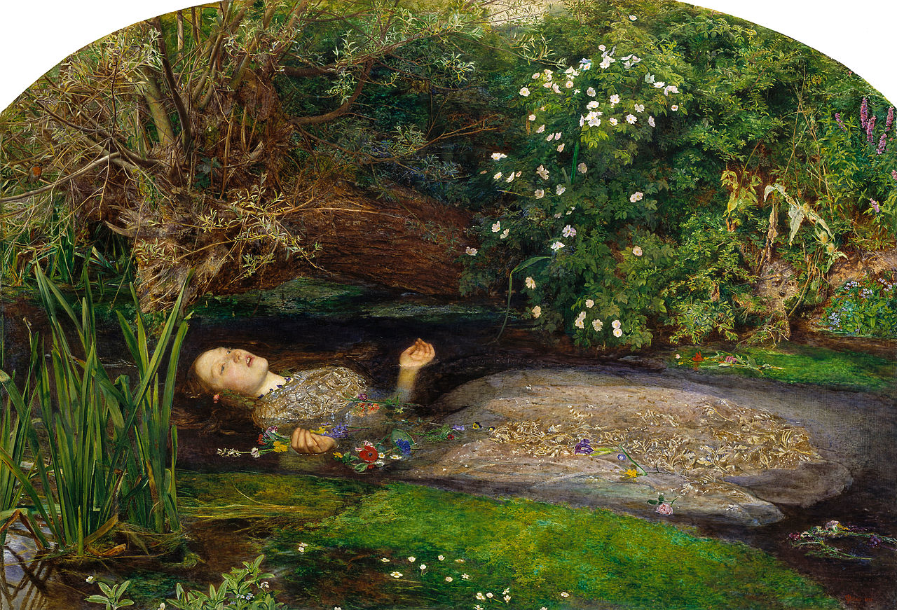 John Everett Millais: Ophelia, 1851-52. Olaj, vászon, 76 x 112 cm. Tate Britain, London.