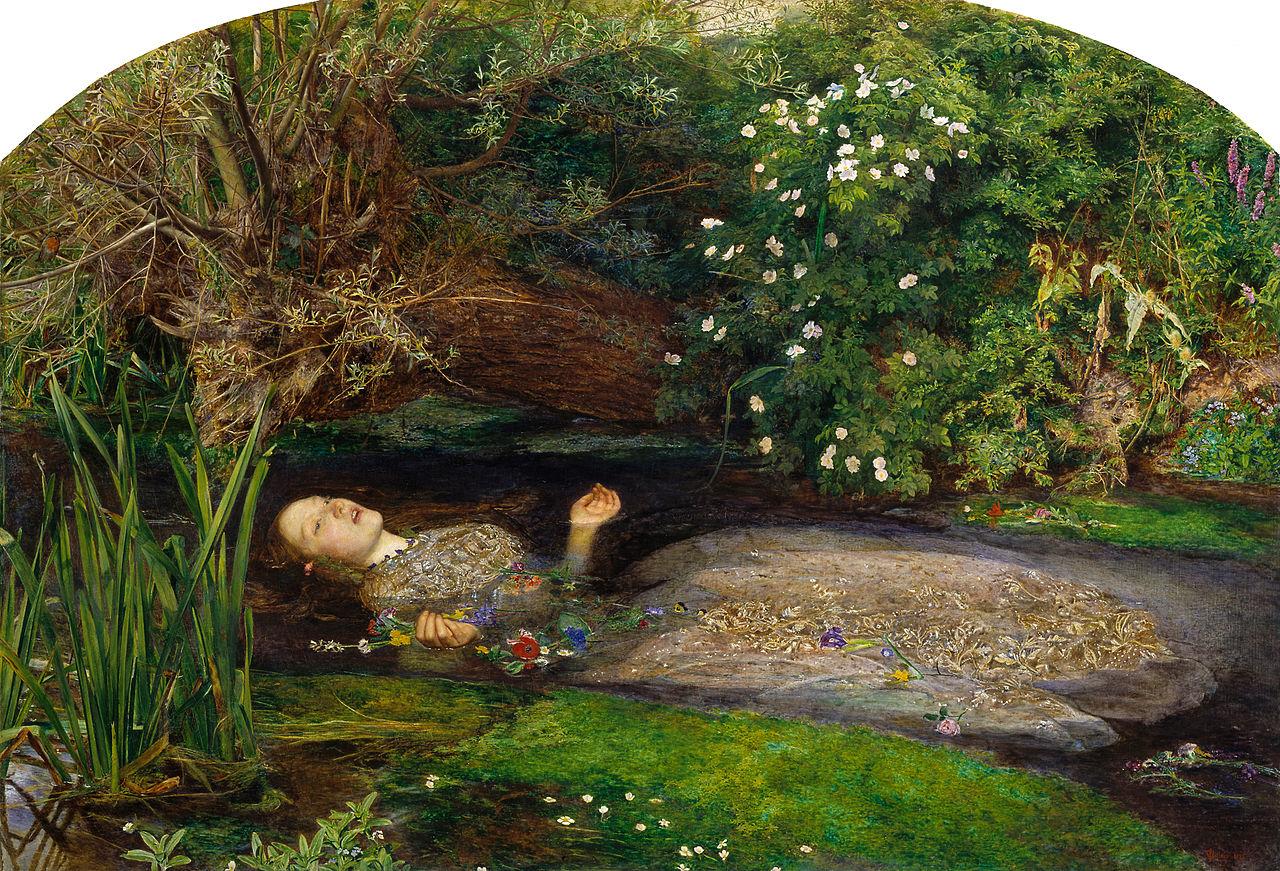 John Everett Millais: Ophelia, 1851-52. Olaj, vászon, 76 x 112 cm. Tate Britain, London.
