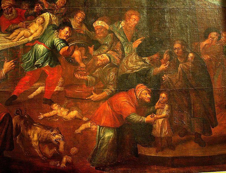 Karol de Prevot: A rituális gyilkosság ábrázolása a sandomierzi katedrálisban (Lengyelország). Festmény, 18. század.