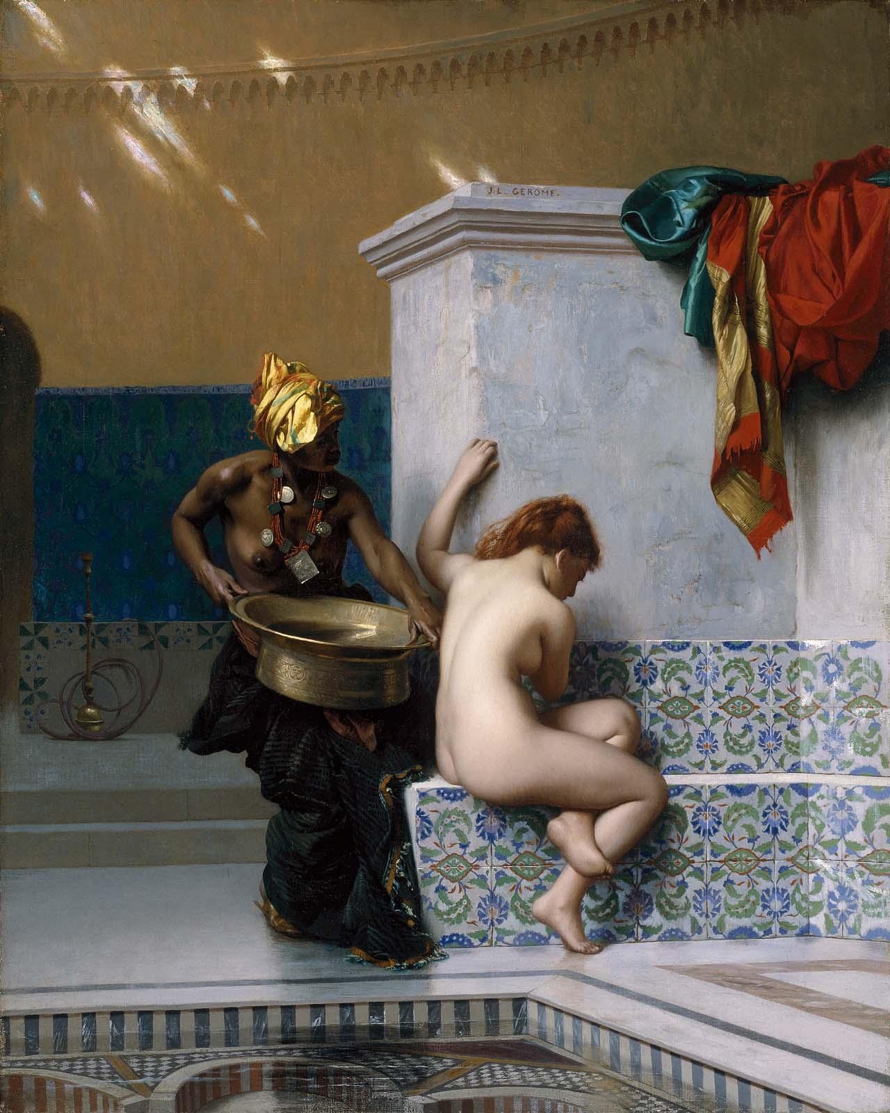 Jean-Léon Gérôme: Moorish bath, 1870. Olaj, vászon, 50 x 40 cm. Museum of Fine Arts, Boston.