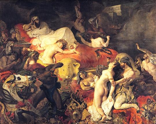 Eugène Delacroix: Sardanapal halála (La Mort de Sardanapale), 1827-1828. Olaj, vászon, 392 x 496 cm. Louvre, Párizs.